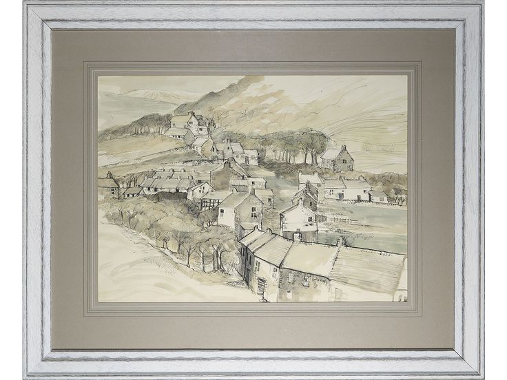 'Corris Village Landscape' - signed pen & watercolour drawing.