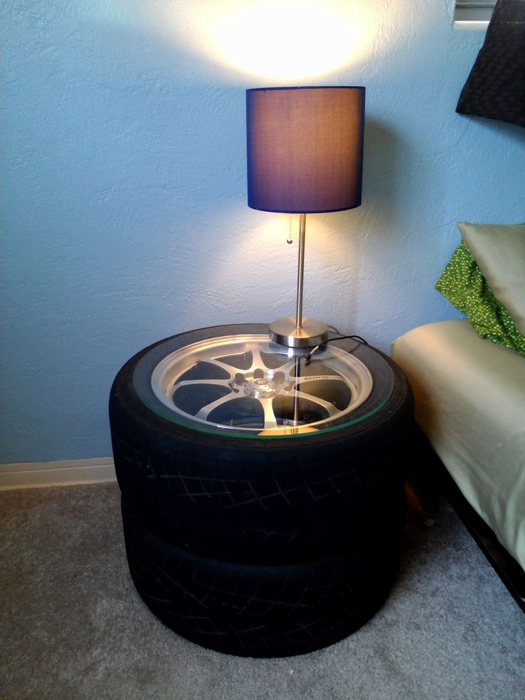 The Sentimental Mechanic: Mechanic Decor: Wheels and Tires as End Tables