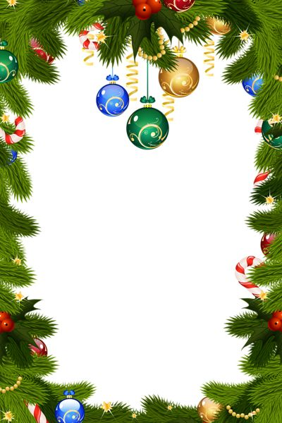 Transparent Christmas PNG Frame Border
