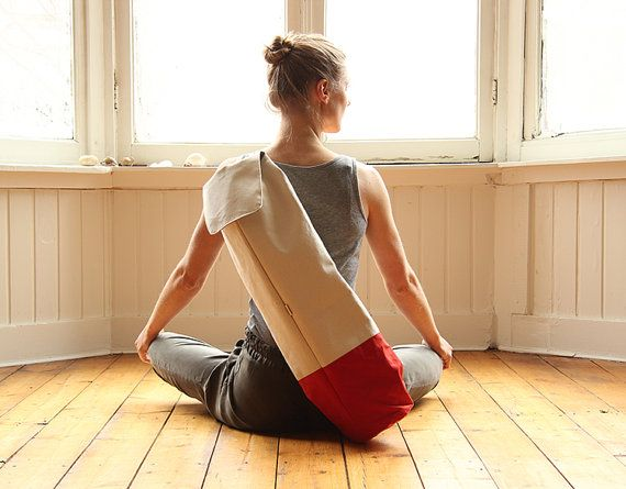 yoga bag  waxed cotton with leather strap by rensz on Etsy, $115.00