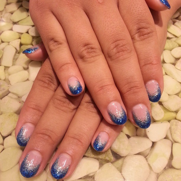 Blue Glitter Calgel Manicure