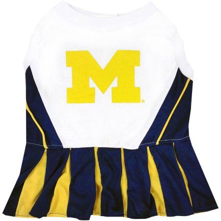 Pets First College Michigan Wolverines Cheerleader, 3 Sizes Pet Dress Available. Licensed Dog Outfit