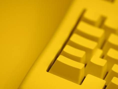 'yellow tinted computer keyboard' photographic print  art