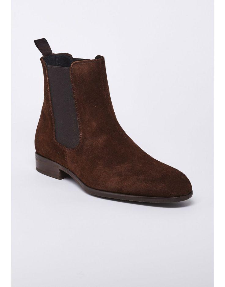 Bottines marron en nubuck cuivre - chaussures sport homme -