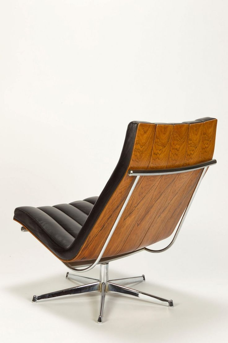 Javier Carvajal Attributed; Bent Plywood, Leather and Chromed Metal Lounge Chair, c1970.