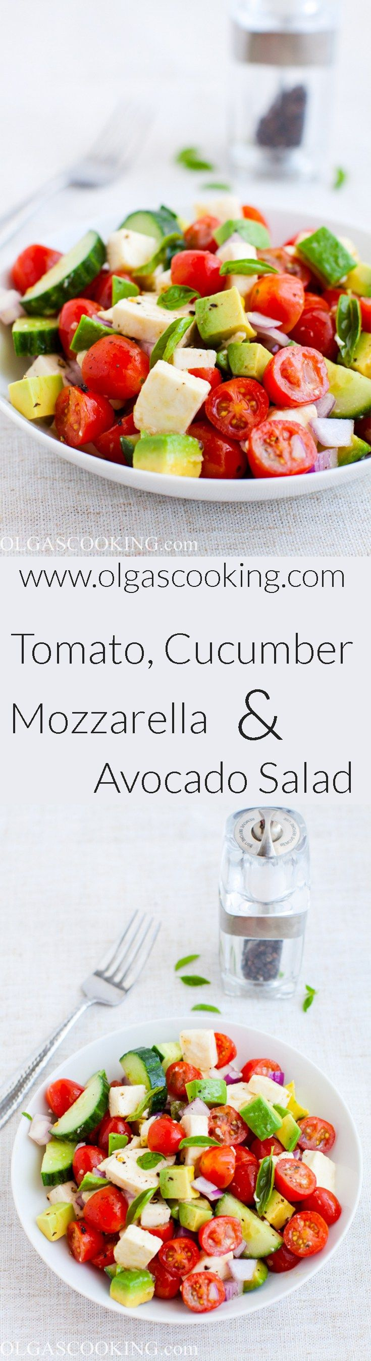Tomato, Cucumber, Mozzarella and Avocado Salad