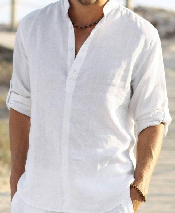 I like this for the men   listing at http://www.etsy.com/listing/165376120/free-shippingman-white-linen-shirt-beach