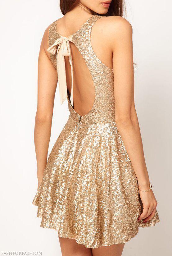 Gold backless sequine dress