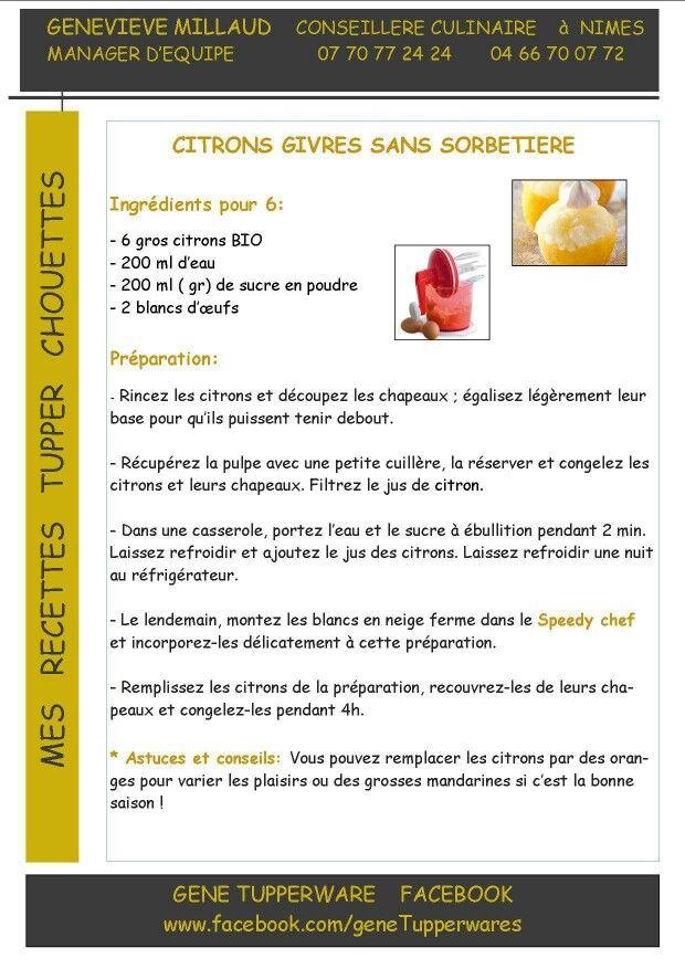 Tupperware - Citrons givrés sans sorbetière
