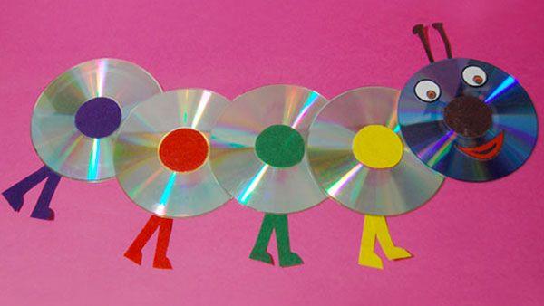 Il bruco con CD riciclati