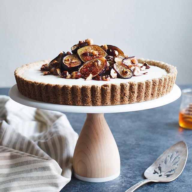Ginger And Honey Goat Cheese Cheesecake With Honey Roasted Figs And Hazelnuts on…