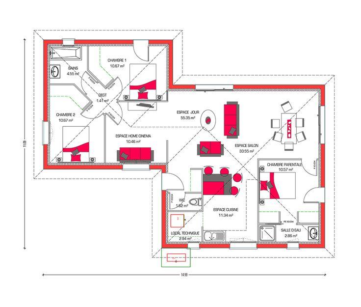 1000 ideas about maison moderne plain pied on pinterest for Agencement maison plein pied