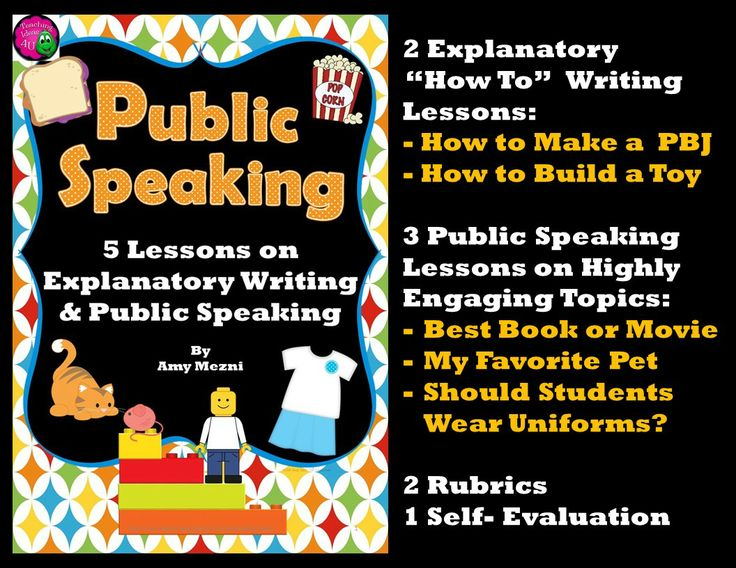 "Mini-unit using explanatory ""how-to"" writing and public speaking. Topics include making a sandwich, creating a toy, favorite pet, best book or movie, and the question ""Should students wear uniforms?""  Lessons are printable and ready to use.  $"