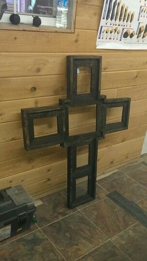 Barn wood, cross picture frame.