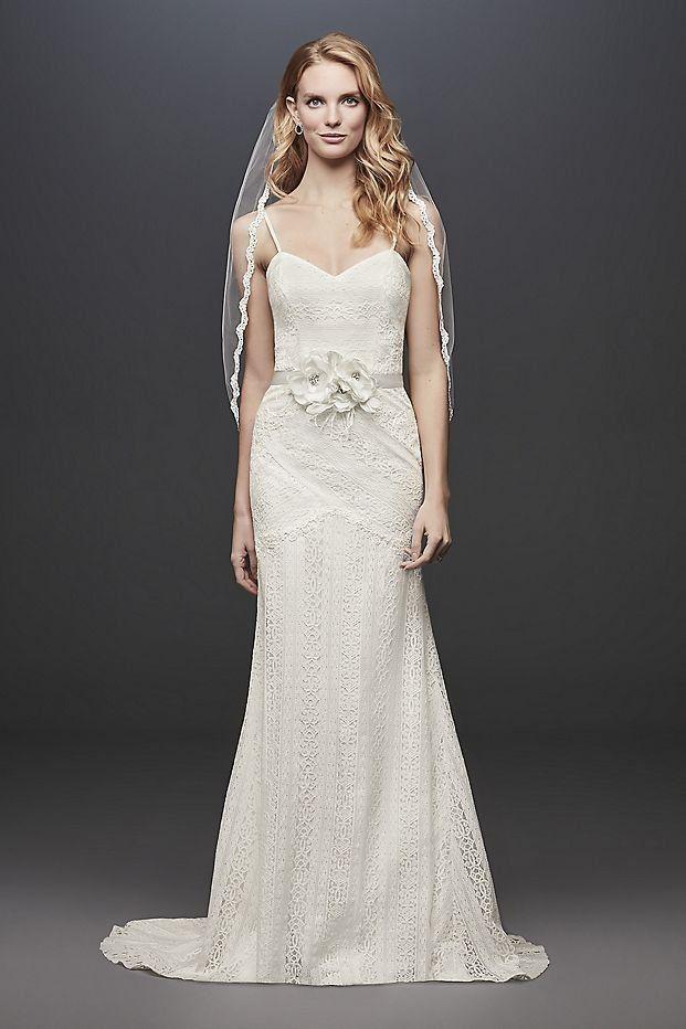 6cff1e3844c Allover Lace Tank Sheath Wedding Dress