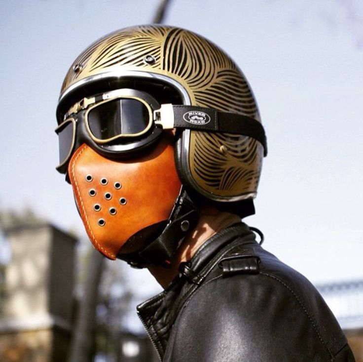 3/4 helmet + Vintage Goggles+ Leather face mask; awesome.
