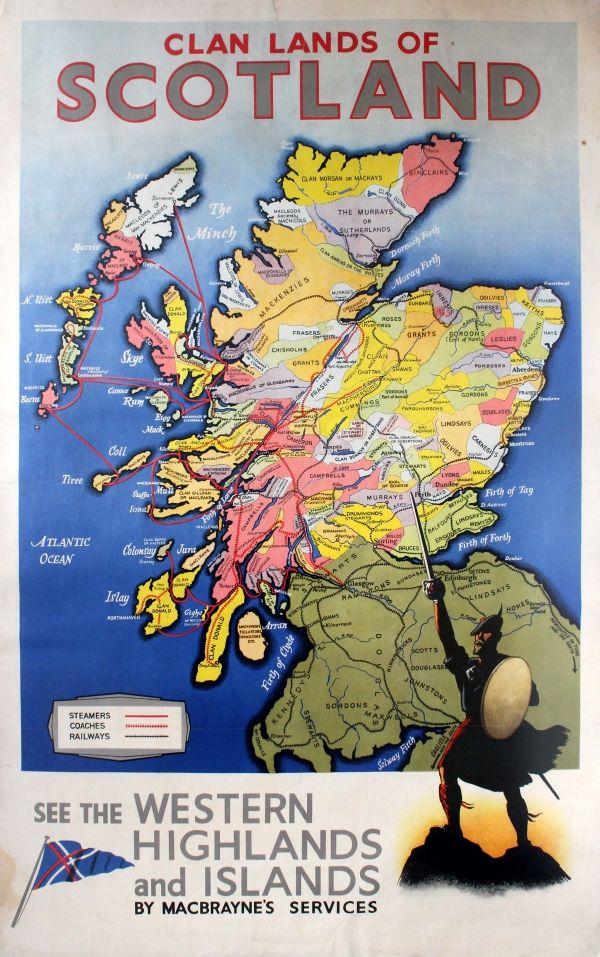 vintage travel posters scotland | Original Vintage Posters -> Travel Posters -> Clan Lands of Scotland ...