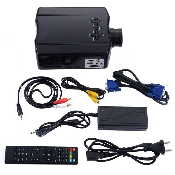 Portable 3D Home Theater AV VGA USB HDMI TV Movie Screen LED LCD Projector RC #Unbranded