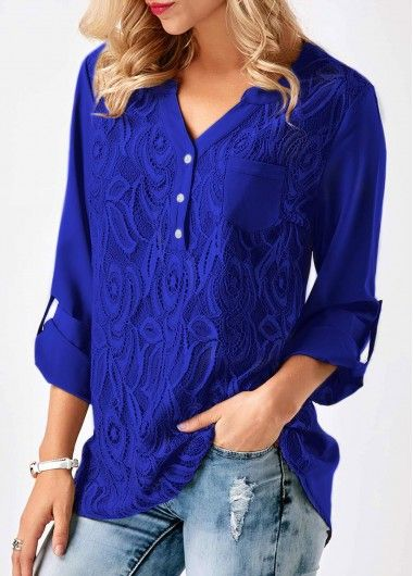 Lace Panel Asymmetric Hem Roll Tab Sleeve Blouse on sale only US$31.11 now, buy cheap Lace Panel Asymmetric Hem Roll Tab Sleeve Blouse at liligal.com