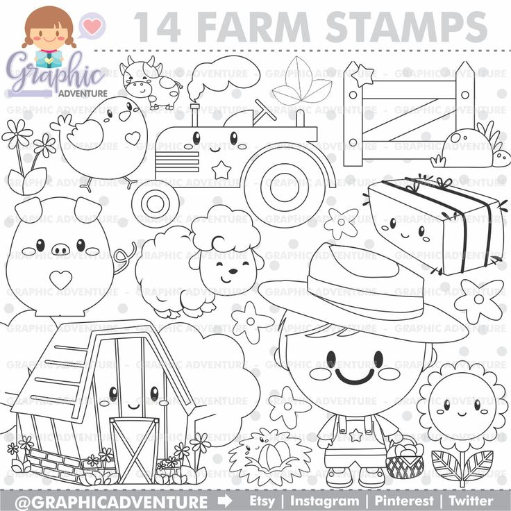 75%OFF - Farm Stamp, Farmer Stamps, COMMERCIAL USE, Pig Stamps, Cow Stamp, Planner Stampas, Planner Accesories, Kawaii Stamps, Farm Clipart