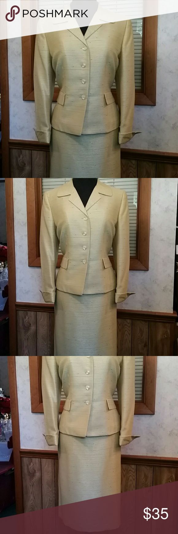 Beautiful Golden yellow skirt suit Size 14 Beautiful women's skirt suit. Resale item but in excellent condition.. no flaws or defects. Lesuit Skirts Skirt Sets