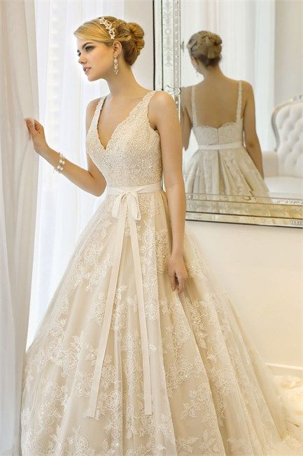 Wedding Dresses by Essense Of Australia- add lace back and capped sleeves this is beautiful!