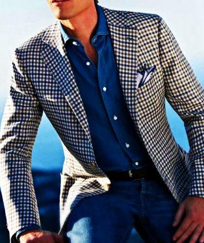 Plaid jacket, chambray shirt