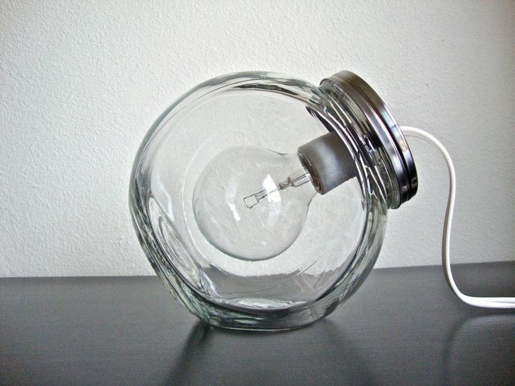 Modern Glass Jar Lighting with Clear Light Bulb / Modern Light Fixture. $76.00, via Etsy.
