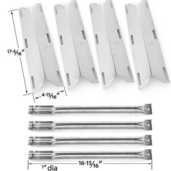 4 Pack Replacement Repair kit For Charmglow 720-0396, 720-0578 Gas Grill Models - 4 Stainless Steel Burners & 4 Stainless Heat Plates