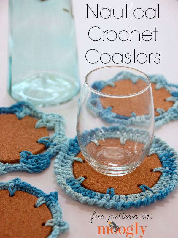 Come, with me to an island where the yarn is plentiful and lovely! Or, make these Nautical Crochet Coasters, and dream or your own sea-faring good times!