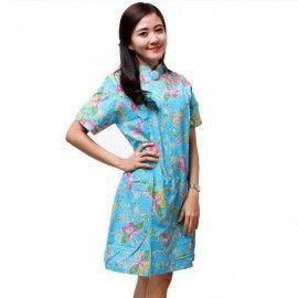 Dress Batik Pendek Resleting Biru Muda