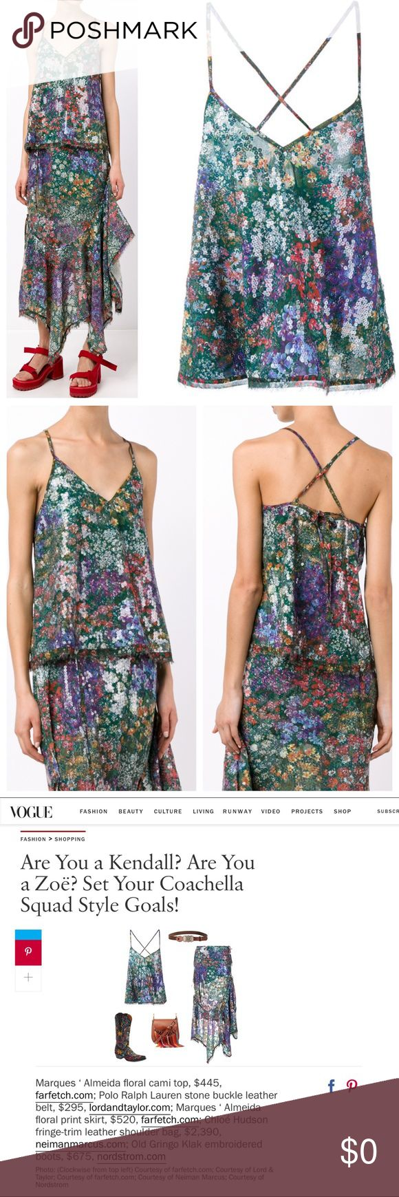 Marques' Almeida Printed Sequin Cami Floral Top COMING SOON!  Exquisite, pristine condition, this stunning multi-coloured Marques Almeida printed floral top is from the designer's Spring/Summer 2016 Resort collection. Feminine and elegant, the loose-fitting piece is uplifted by the sexy criss-cross back and subtle sequin detailing that gives it a unique shine. Pair with skinny jeans or any flowy skirt for the ultimate boho chic look.  As seen in Vogue for Coachella outfits. Measurements and…