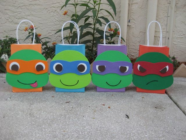 Ninja Turtles Inspired Birthday Party Favor Bag. $3.00, via Etsy.