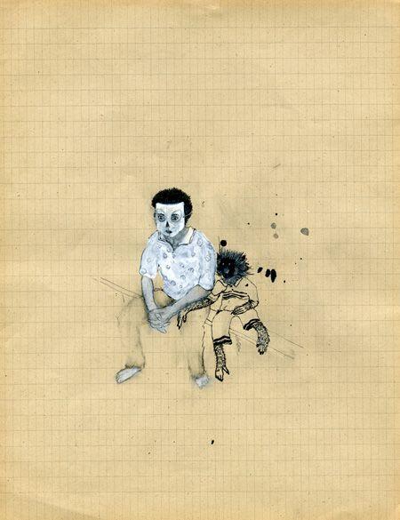 karine rougier  Sans titre 2008  Encre de chine et vernis sur papier, 21 x 27 cm  Collection privée