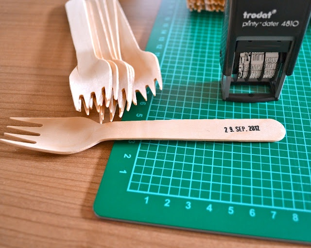 currently DIYing: wooden forks with wedding date