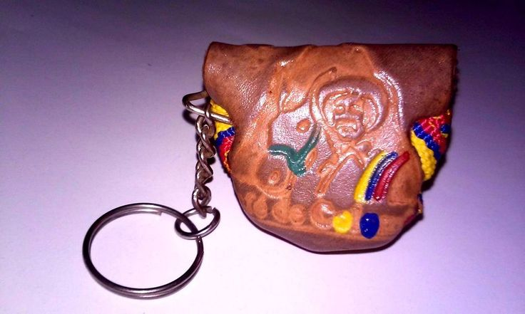 Colombian Coffee Bag Small Pouch Keychain Ring Cultivator Beans Storage Leather