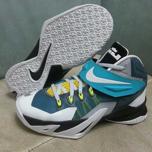 197b005a756c Nike LeBron Zoom Soldier 8 White Blue-Yellow-Black. The colors are fresh.