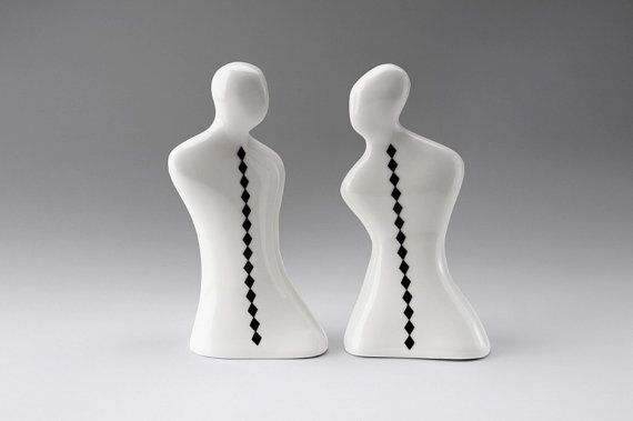 Ceramic Set of Salt and Pepper Shakers, Porcelain, Black and White, Handmade Housewares, Modern Decor