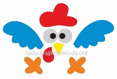 Moldes para hacer la gallina pintadita en fieltro