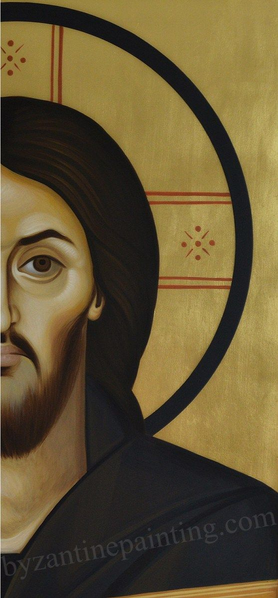 Painted orthodox icon of Jesus Christ Pantocrator from Sinai Mountain