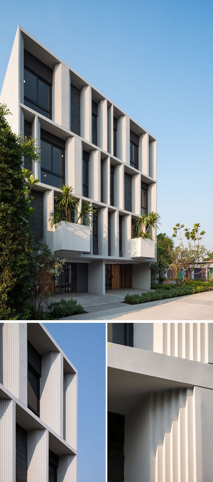 Architecture firm Baan puripuri have recently completed this pair of three storey townhouses in a vibrant neighborhood of Bangkok Thailand.