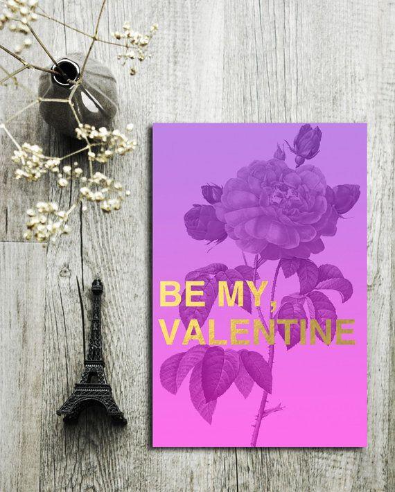 Valentinstag Kunst Karte Druckvorlage von SagesmitLiebe auf Etsy Printable Valentine Day Card in Retro Modern Style