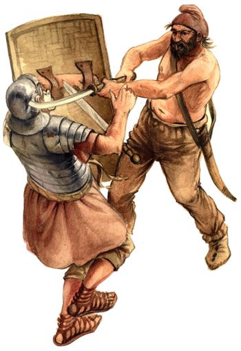 Dacian fighter and Roman legionary during the Dacian Wars