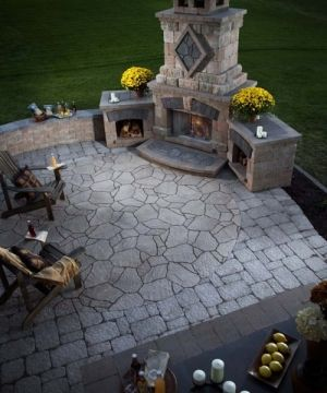 outdoor fireplace - kind of like the corner placement