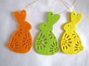 Velikonoční zajíček z filcu - ( 3 kusy v balení )