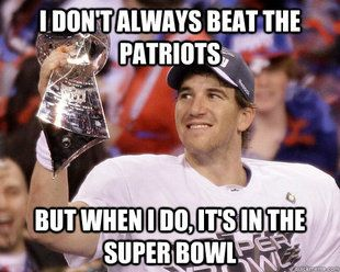 I just love it when New York Giants Eli Manning beats Tom Brady!