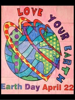 """Earth Day: Group Poster Project: Not only is there ONE cool Earth Day group poster in this lesson but there are TWO cool designs. Let the kids vote on their favorite design OR just make both!This project is so much fun because, in the end, you will have a very large (approx. 29""""x36"""") Earth Day poster that you can have laminated and use for years to come."""