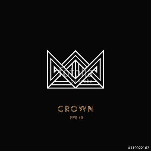 Crown logo, geometric monogram. Line design. Vector illustration ...