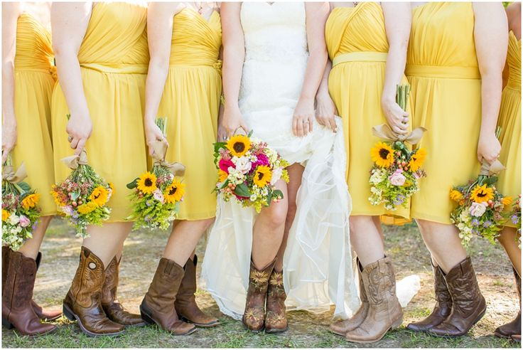 Country Wedding, bridesmaids, cowboy boots, yellow  Erin Lindsey Images - www.erinlindseyimages.com