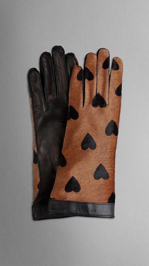 Heart Print Calfskin Gloves | Burberry